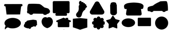 standaard vormen wobblers, formen regalwobbler